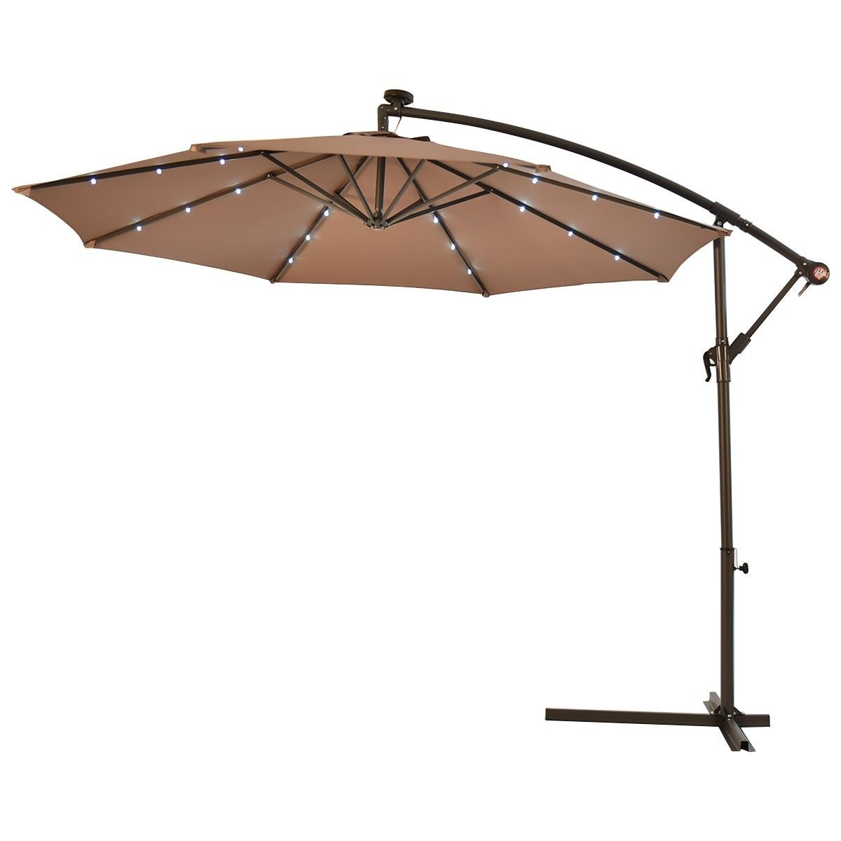 10 Patio Hanging Umbrella Sun Shade With Solar Led Lights Patio Umbrella Lights Large Patio Umbrellas Patio Umbrellas