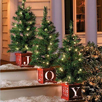 set of 3 christmas lighted joy tree topiary holiday pre lit entryway decoration