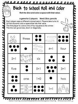 Back To School Math Games First Grade Kindergarten Math Games Kindergarten Math First Grade Math