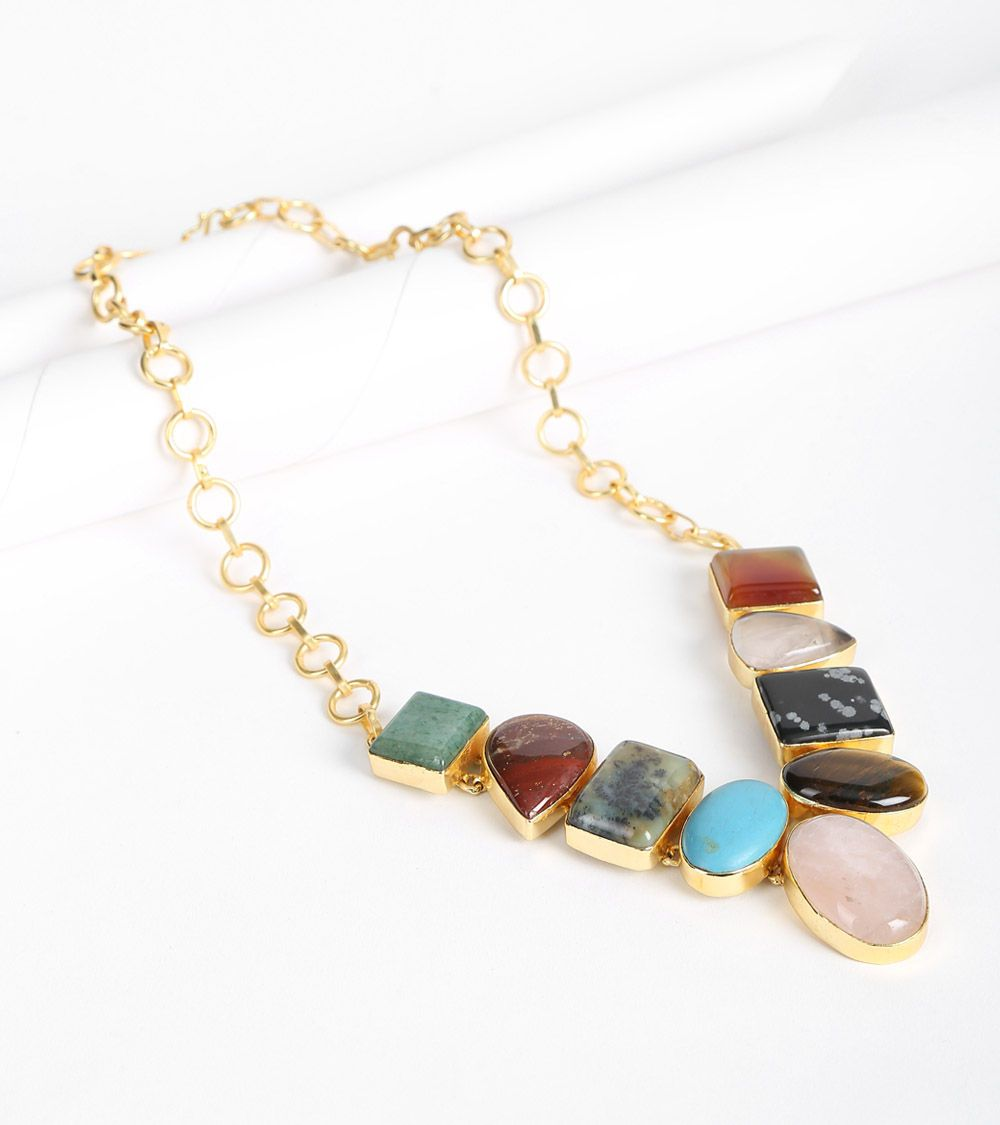 Multicoloured 14K Gold Plated Alloy Metal #Stone #Embellished #Necklace