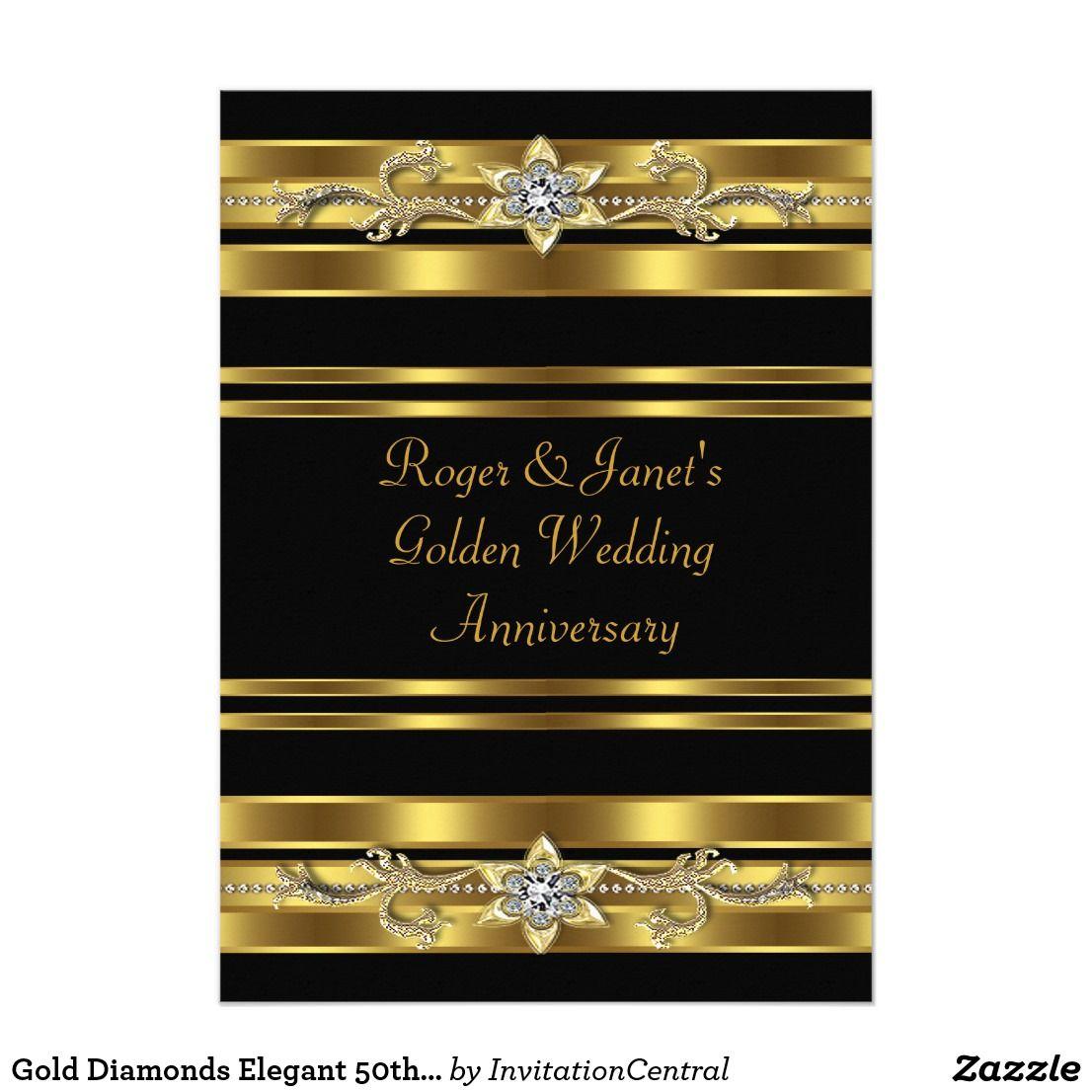 Gold Diamonds Elegant 50th Wedding Anniversary Card Wedding