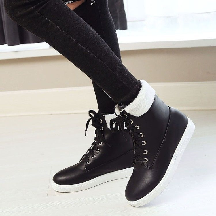 534551fa82 Womens Winter Snow Boots Flats Casual Lace Up High Top Shoes Warm Ankle  Boots Sz
