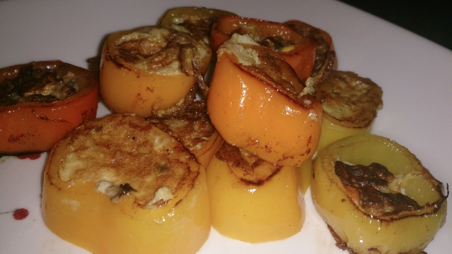 Pan fried sweet peppers filled with eggs