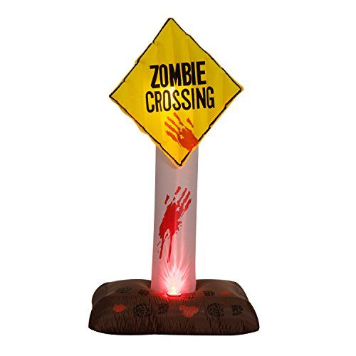 6 Zombie Crossing Sign Halloween LED Lighted Outdoor Airblown - halloween lighted decorations