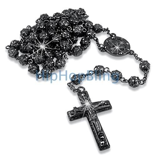 Bling bling fully iced out bead black rosary necklace rosary bling bling fully iced out bead black rosary necklace hip hop rosary necklaces aloadofball Gallery