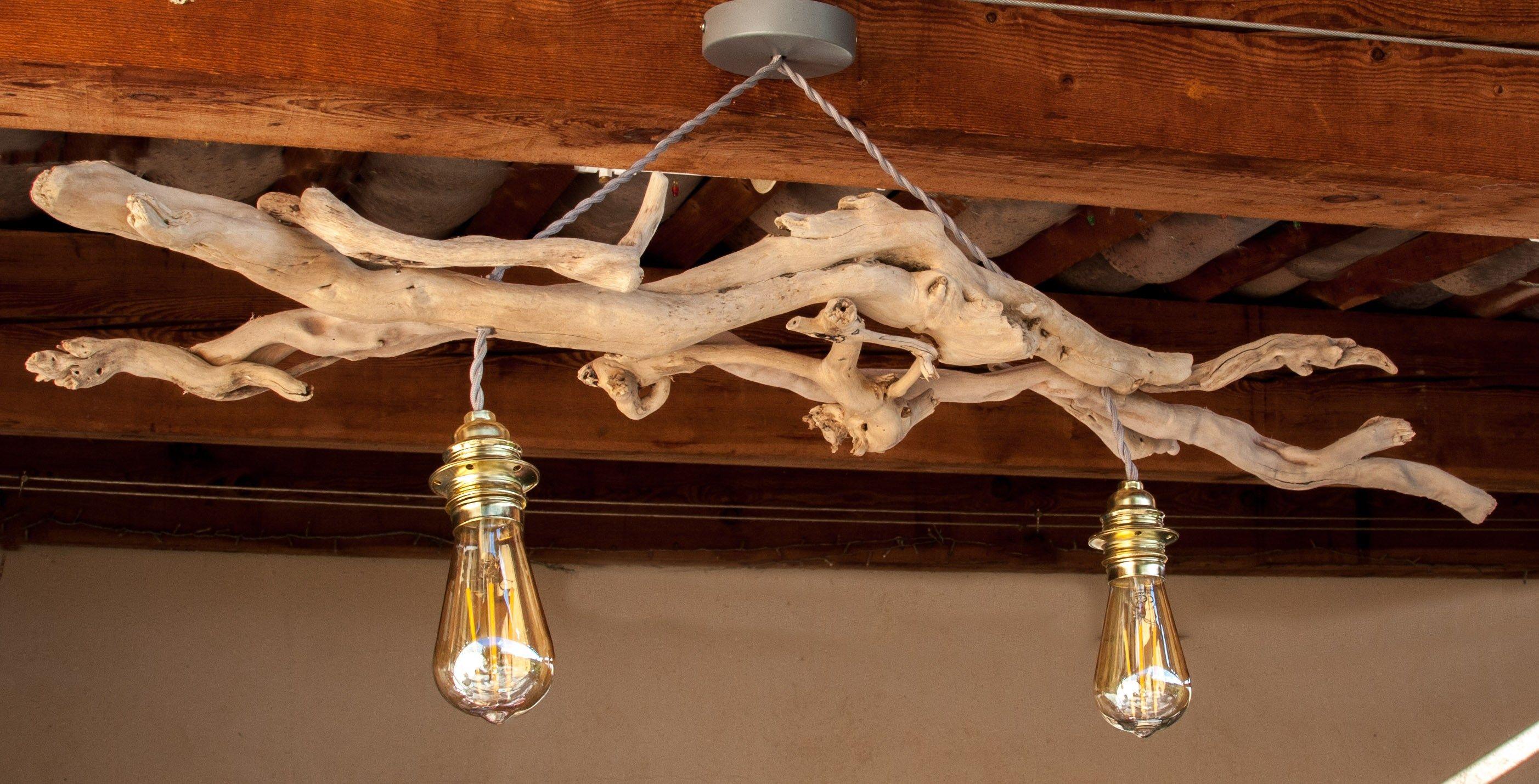"""lustre en bois flottés avec ampoules """"vintage"""""""