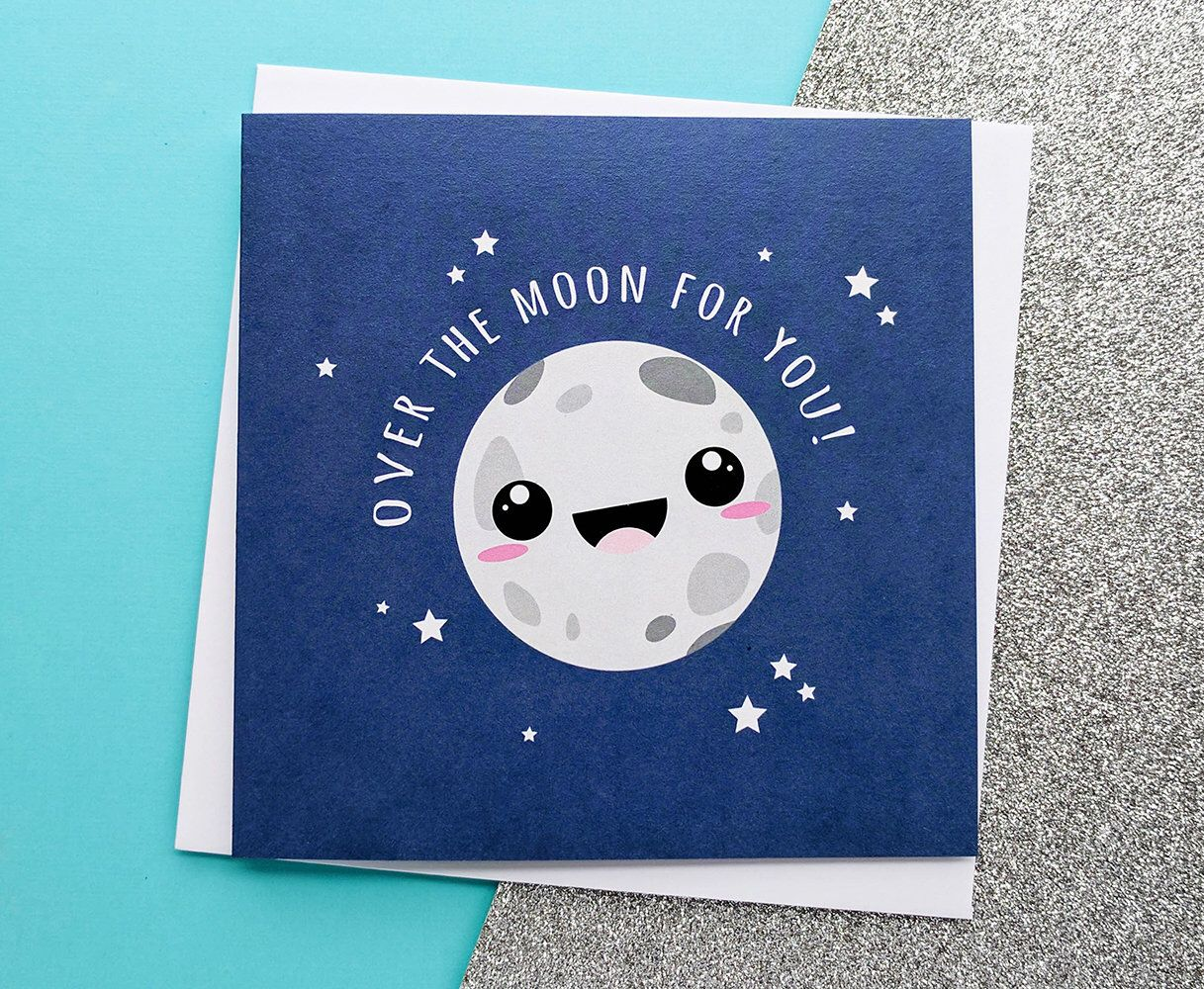 Over The Moon Card Cute Congratulations Card Cute Wedding Card