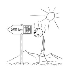 Cartoon Of Man Walking Thirsty Through Desert And Easy Doodle Art Person Drawing Sketch Notes