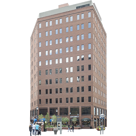 A Tall Red Brick Office Building That Sits In A City Plaza With Retail  Establishments On