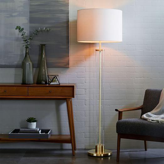 Acrylic column floor lamp antique brass