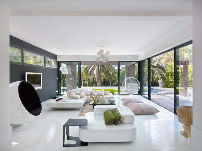 Boden Wohnzimmer ~ Modern einrichten wohmzimmer weiß cooler sessel weißer boden