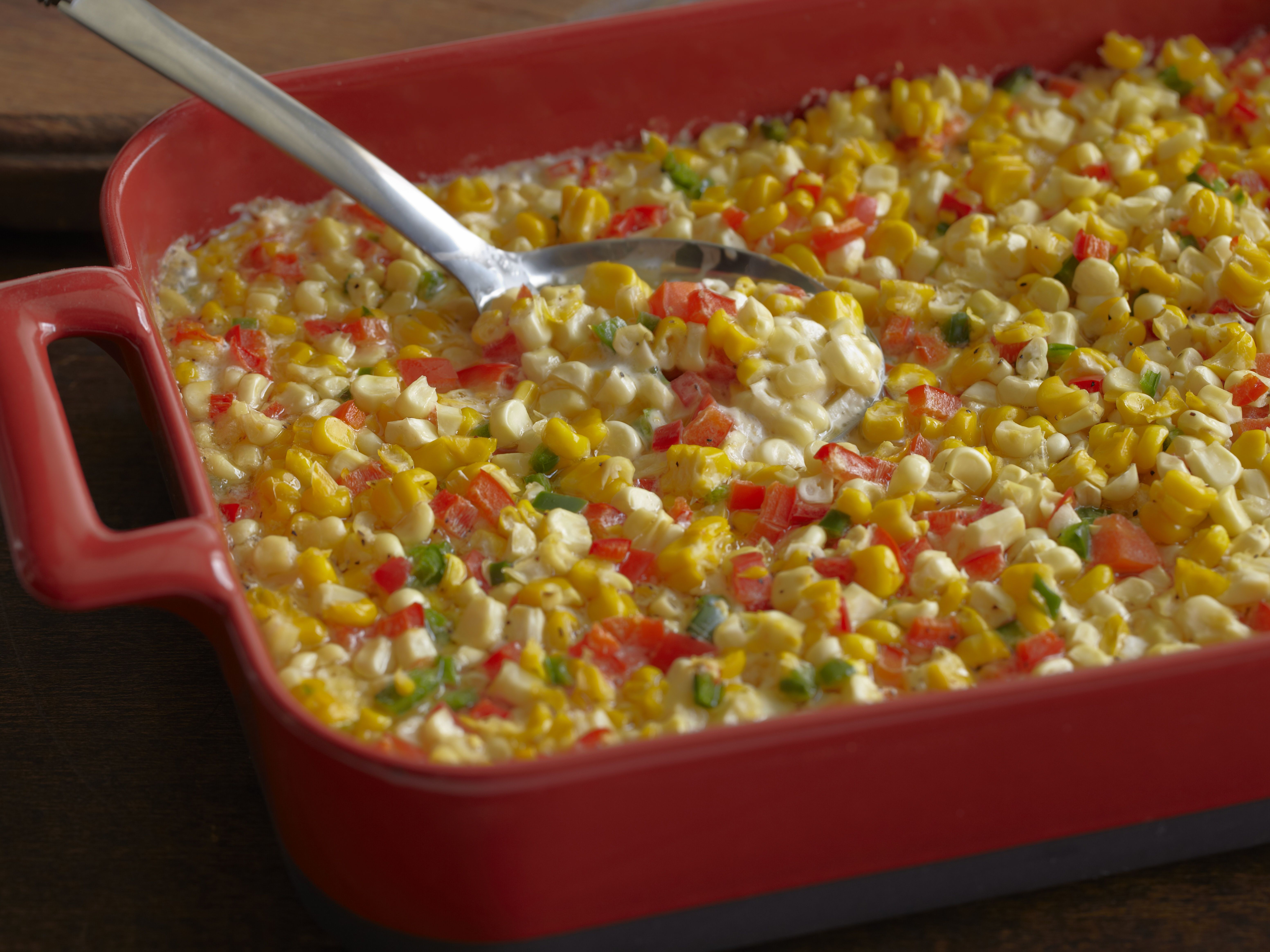Fresh Corn Casserole With Red Bell Peppers And Jalapenos Recipe Food Network Recipes Creamy Corn Casserole Fresh Corn Casserole