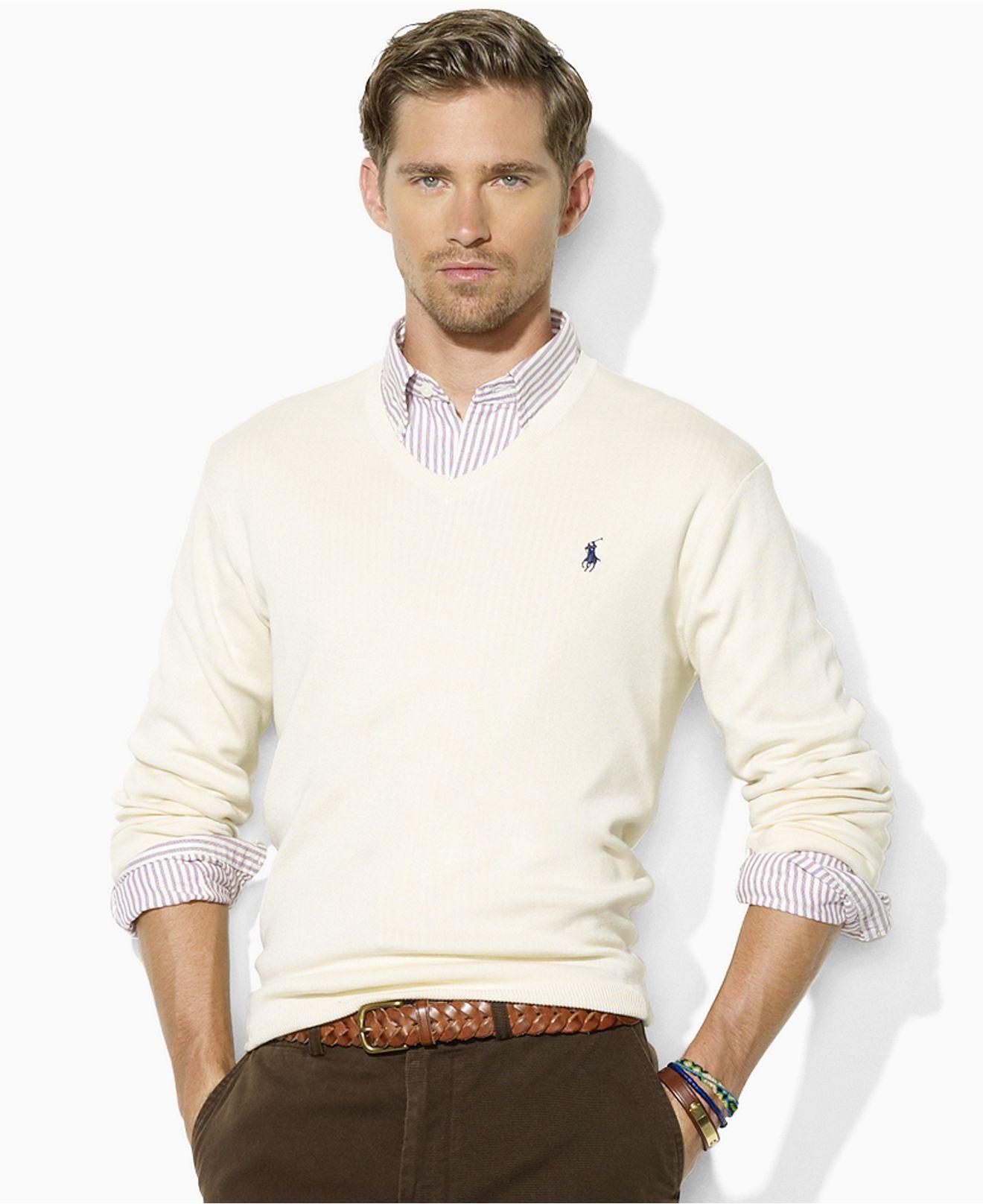 Polo Ralph Lauren Sweater Lightweight V Neck Sweater Mens