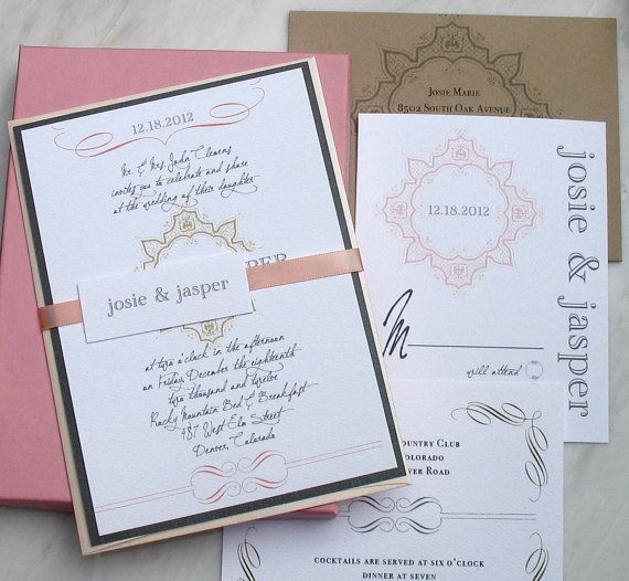 Peaches & Cream - Wedding Invitation, With Ivory, Blush Pink, Gray, And Taupe - DEPOSIT. $100.00, via Etsy.