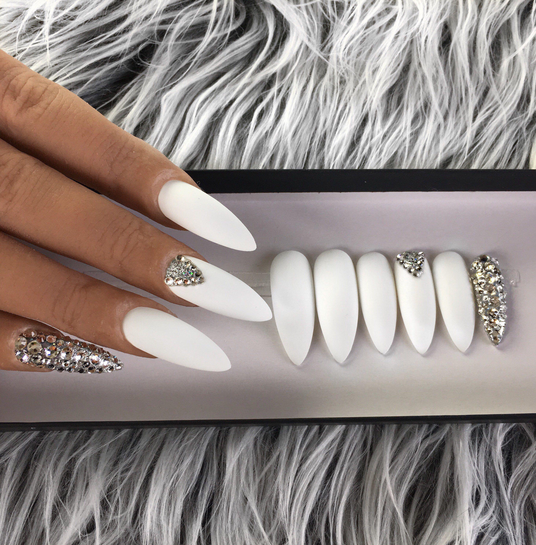 Matte White Press On Nails Swarovski Crystals Stiletto Nails Coffin Nails Fake Nails False Nails Ac Press On Nails Stiletto Nails Glitter Gel Nails