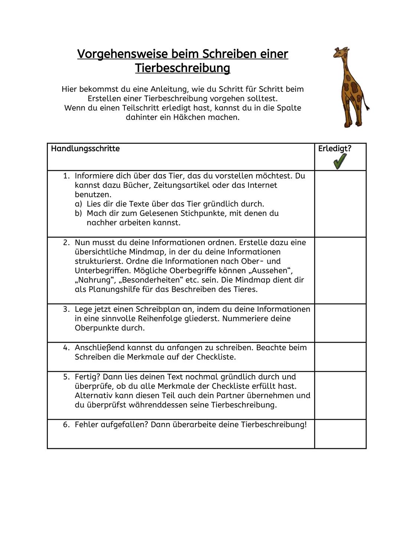 Tierbeschreibung Unterrichtsmaterial Im Fach Deutsch In 2020 Checklisten Vorlage Unterrichtsmaterial Klassenarbeiten