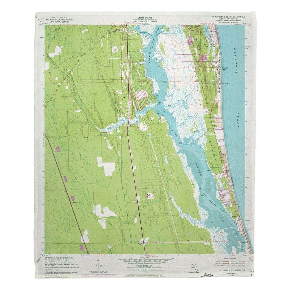 FL Saint Augustine FL 1956 Topo Map Fleece Throw Blanket