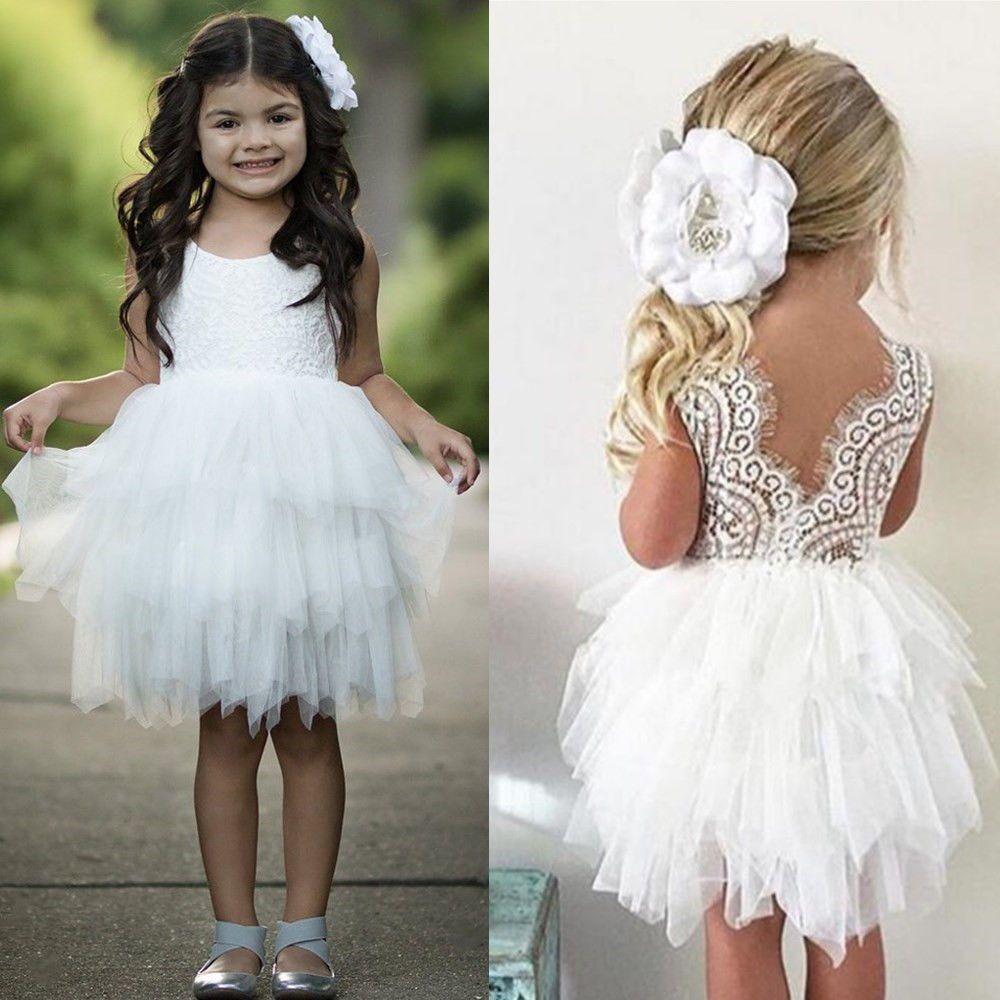 Baby flower girl wedding white dress princess lace tulle