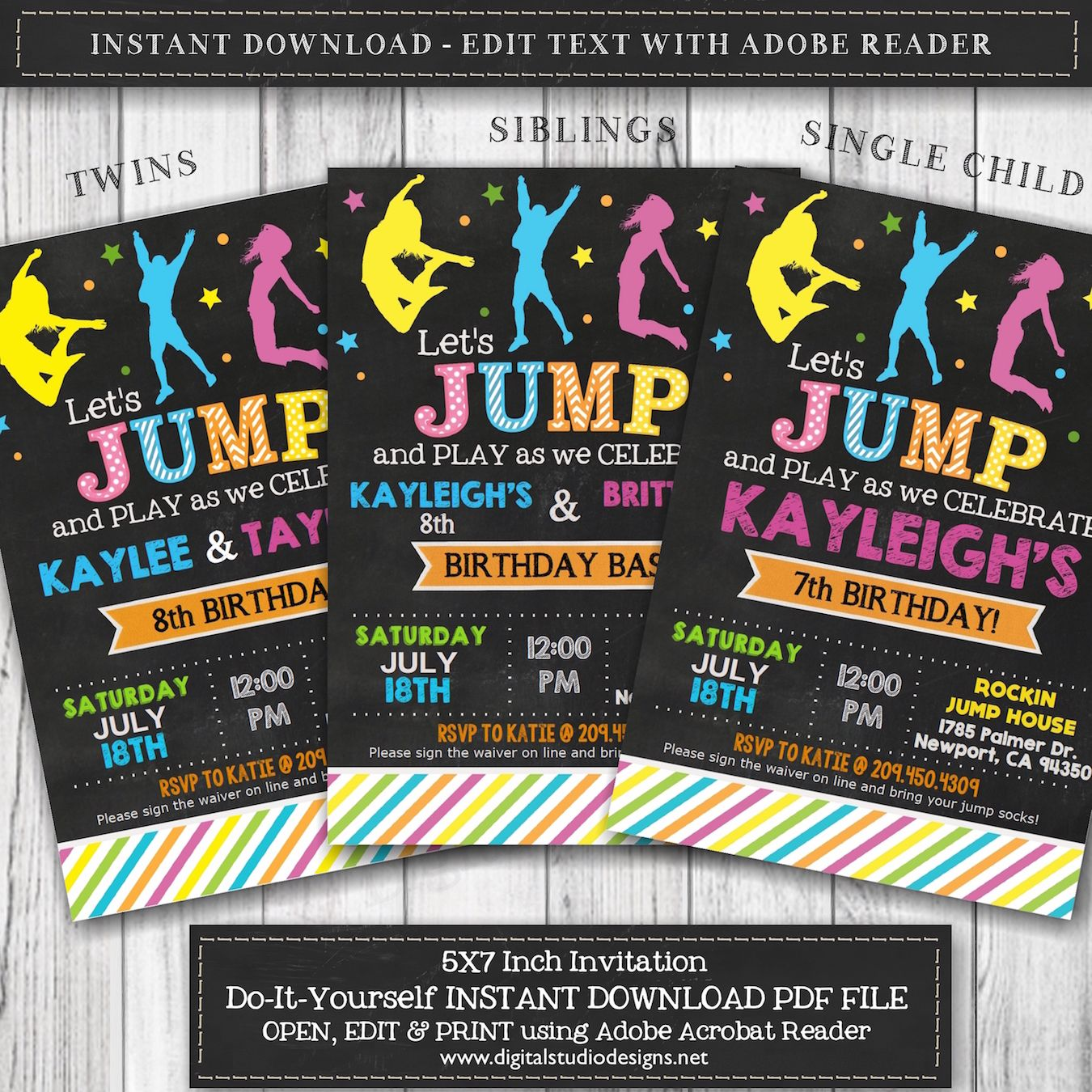 Let S Jump Girl Sisters Or Twins Chalkboard Birthday Invitation