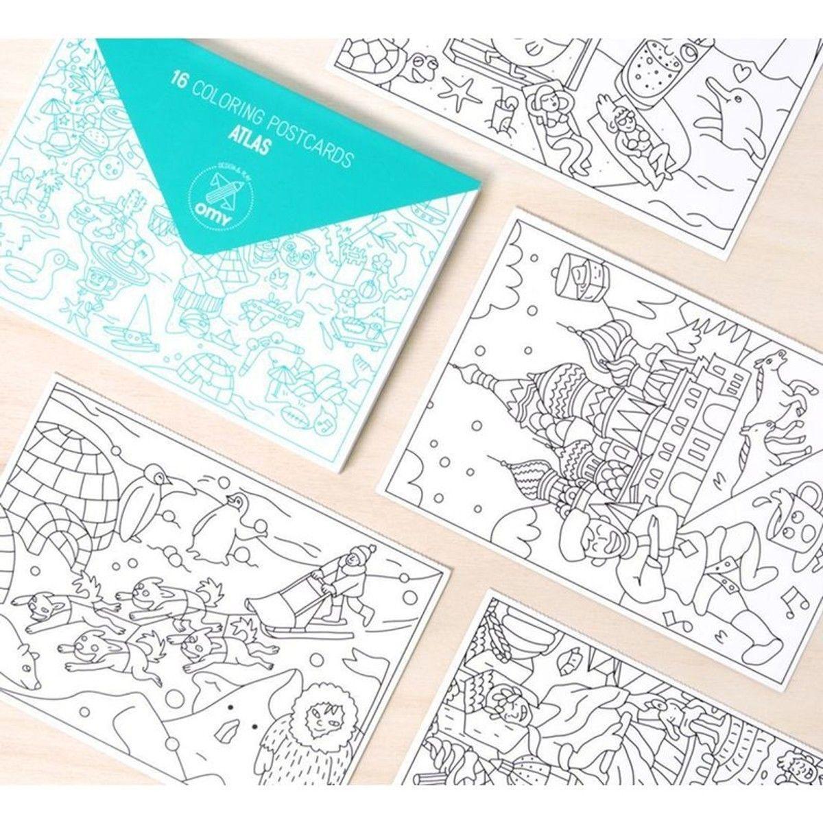 Cartes Postales A Colorier Atlas Lot De 16 Atlas Taille