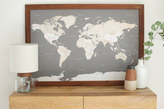 World Map World Map Wall Art Husband Gift 1st Anniversary Gift