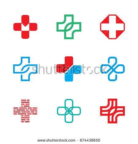 Medical Cross Logo Design Template Set Isolated Plus Icon Symbols
