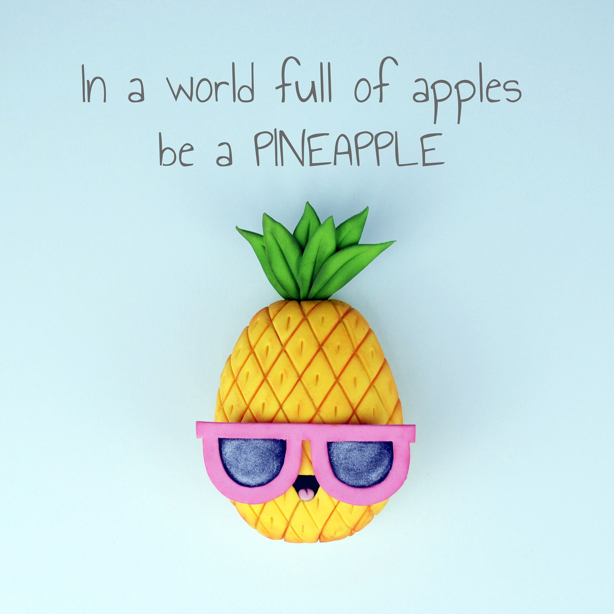 In A World Full Of Apples Be A Pineapple Cute Cake Toppers By
