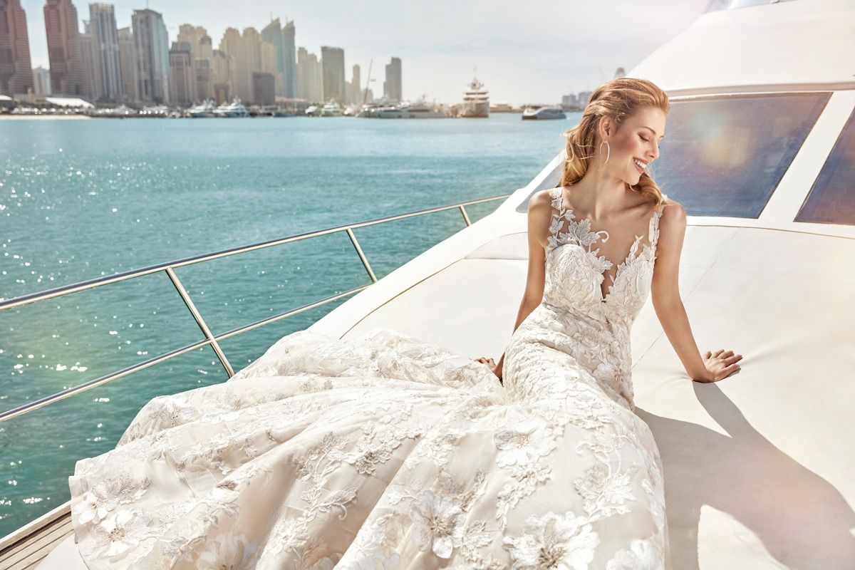 Champagne and ivory wedding dress  Sky Style SKY Unique flowerpatterned lace with a striking