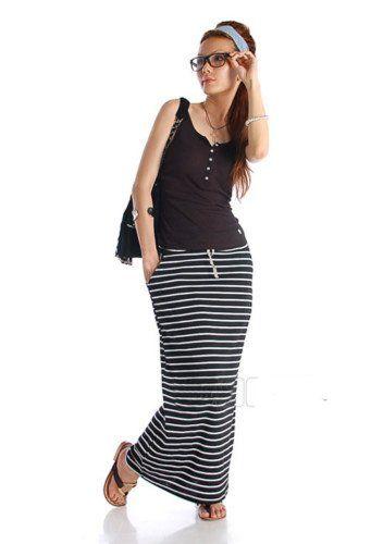 Amazon.com  NI9NE Brand Black Maxi Skirt with White Stripes Fits US Size 8  - 12 (Item  1016BLK-L XL)  Clothing 57982ed6d89