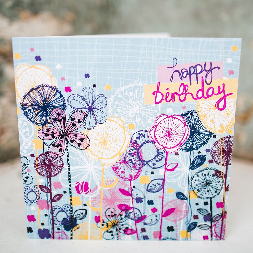 Quirky Floral Stems Birthday Card Exclusively Hand Drawn Designed