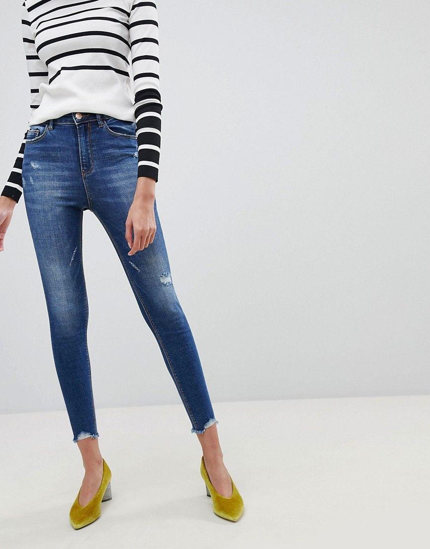 f01dc07ff9a1 Stradivarius Super High Waist Skinny Jeans - Blue