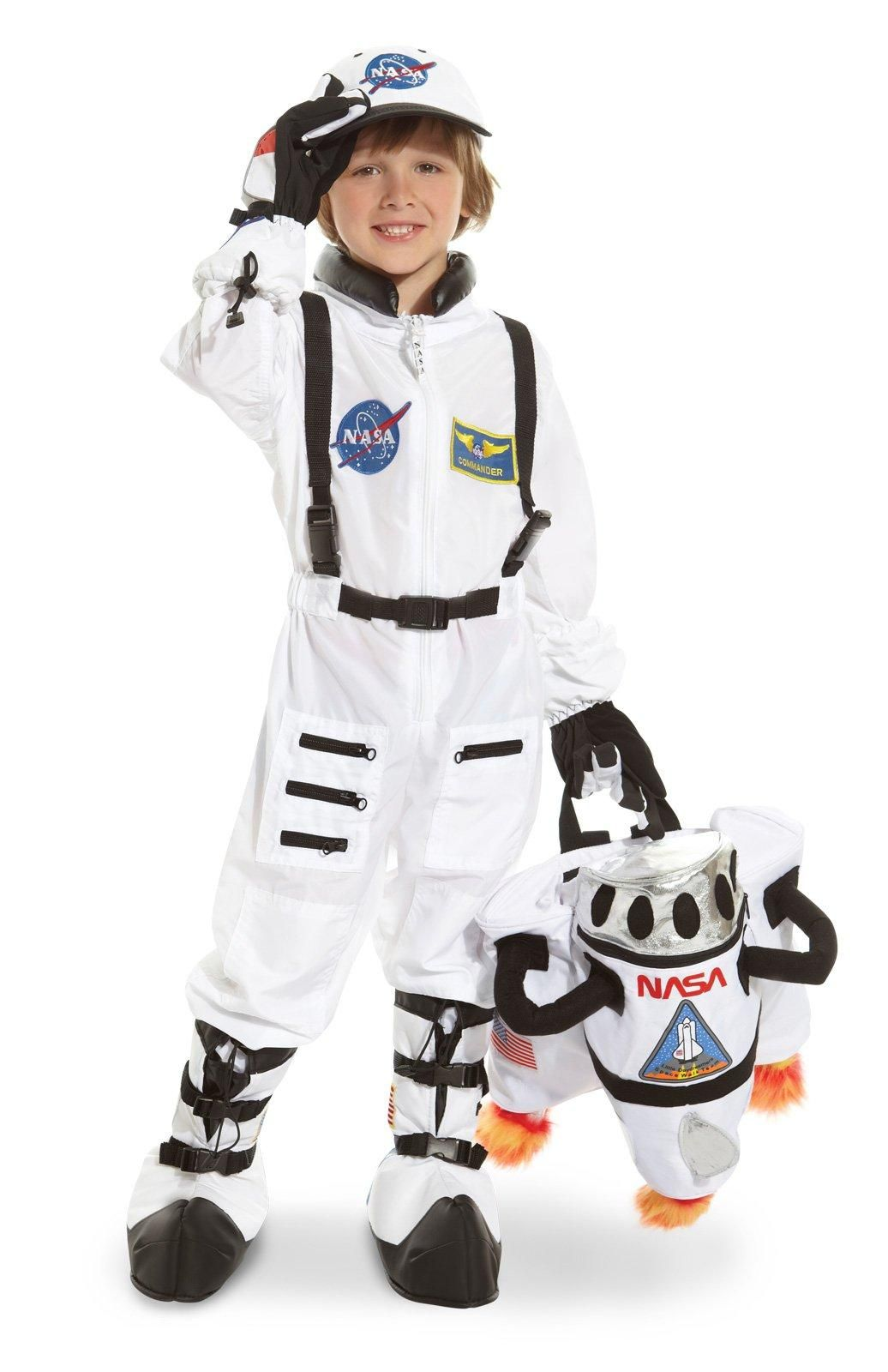NASA Inspired Astronaut Jacket Child Costume White