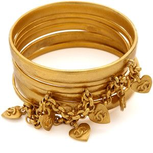 What Goes Around Comes Around Vintage Chanel Corazón Bangle Set - Gold