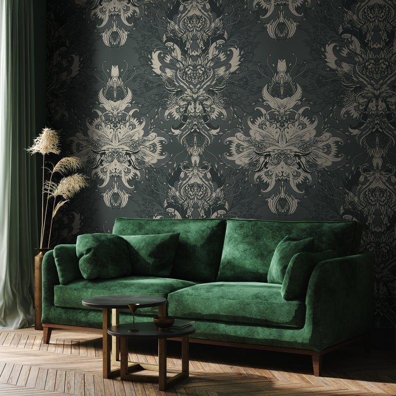 Removable Dark Green Damask Mural Victorian Wallpaper Self Etsy In 2020 Victorian Wallpaper Modern Sofa Living Room Green Sofa Living Room