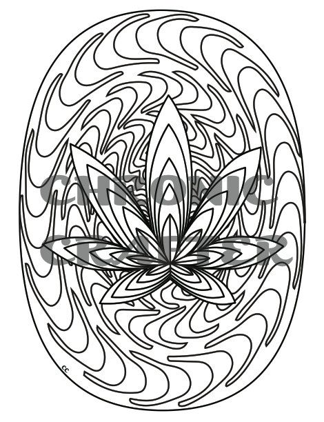 003 Optical Marijuana Leaf Coloring Page from by