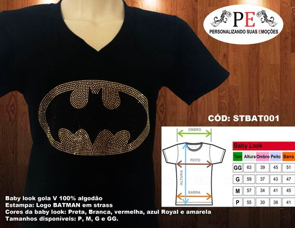 Baby look Logo do Batman em strass