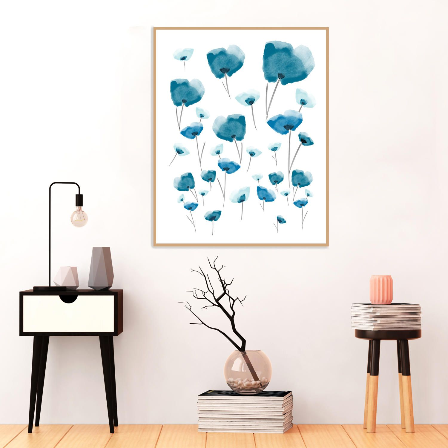 Blue Poppy Painting, Watercolour print, Abstract flower pictures, Printable Instant Download, Floral Decor, Extra Large Art Prints by InspirationAbstracts on Etsy