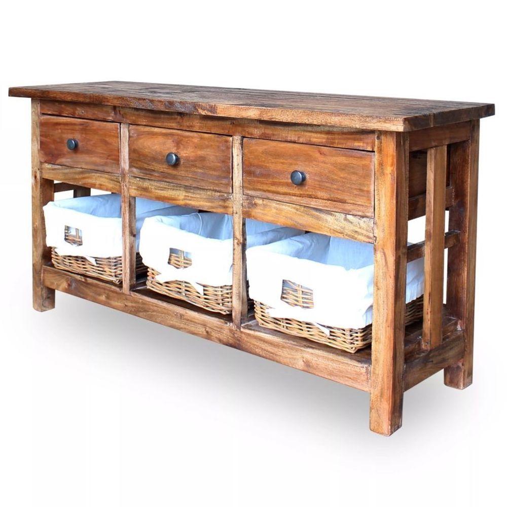 Solid Wood Sideboard Rustic Storage Cabinet Wicker Basket Vintage Reclaimed Unit SolidWoodSideboardRustic Rustic