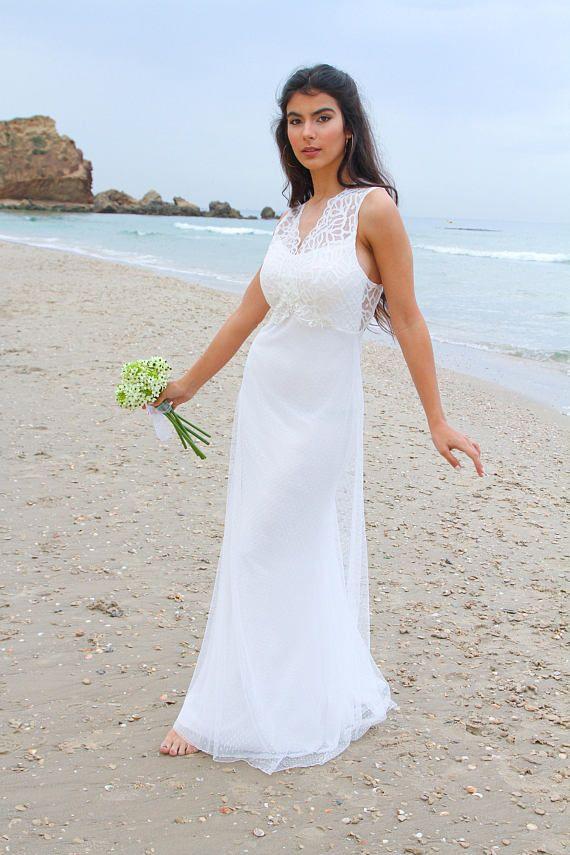 A boho ivory chiffon wedding dress, White bridal gown, Lace wedding ...