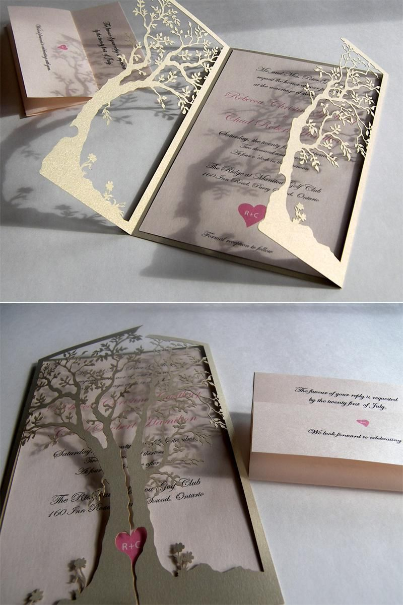 Love Tree Laser Cut Wedding Invitation Inspiration Wedding