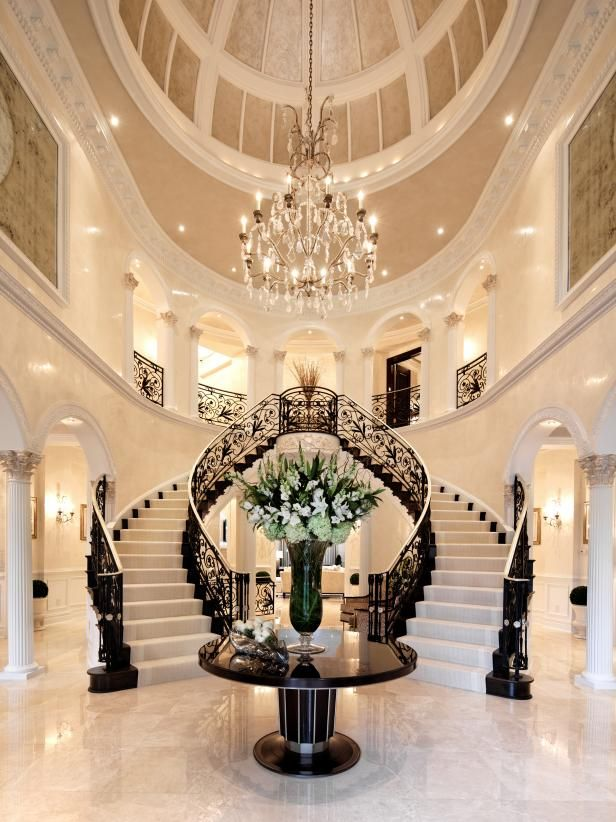 Grand Black and White Entryway With Double