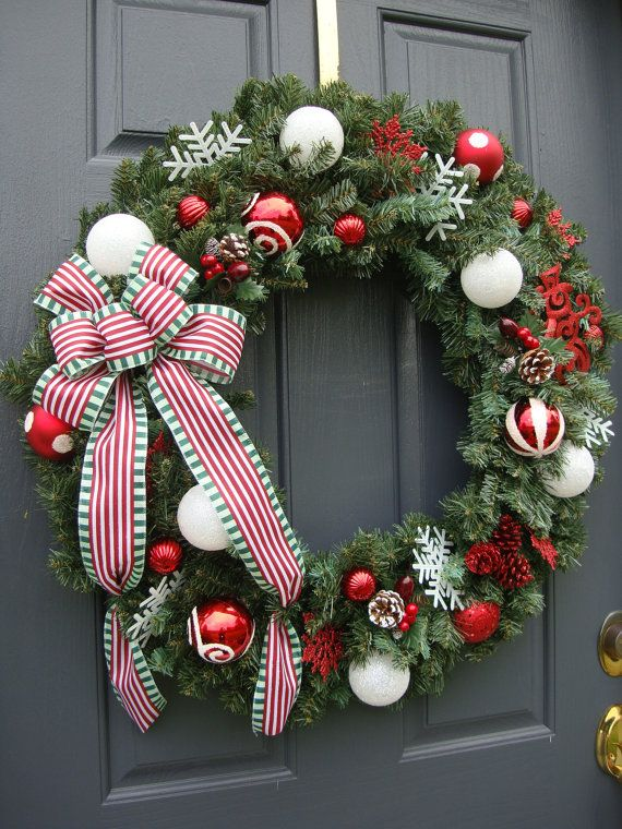Red And White Christmas Wreath With Ribbon 6000 Via Etsy