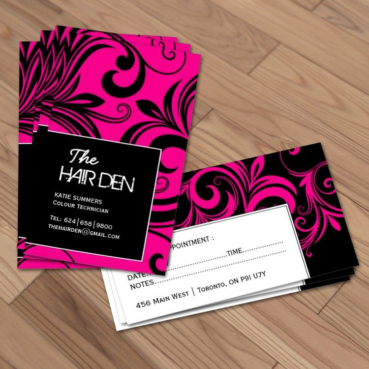Fully customizable hair stylist business cards created by