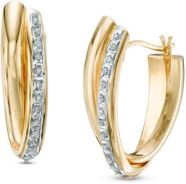 Zales Diamond Fascination Crossover Hoop Earrings in 14K Gold lXOdiTfi