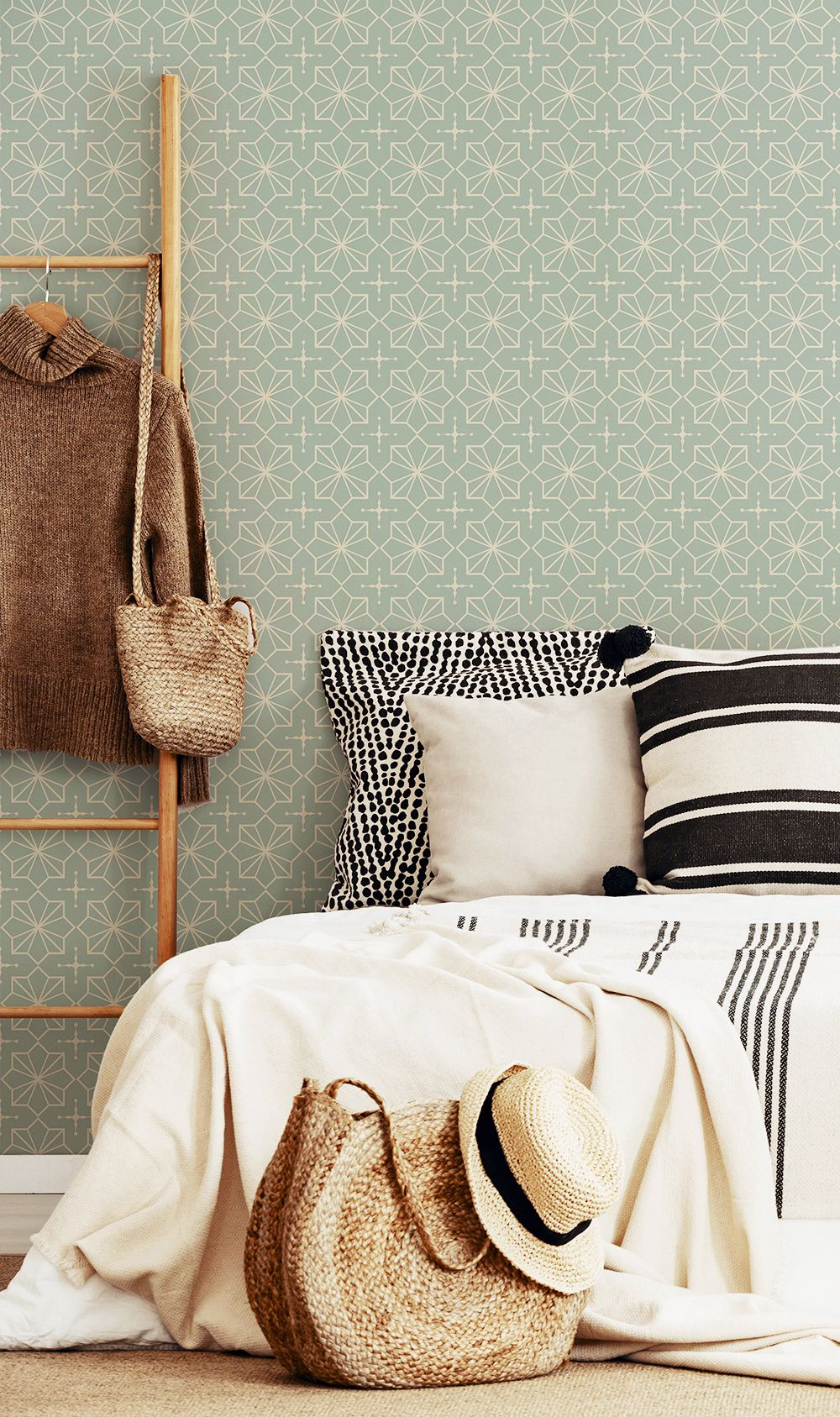 Green And Beige Pattern Geometric Peel And Stick Removable Wallpaper 0948 Removable Wallpaper Geometric Wallpaper Design Traditional Wallpaper