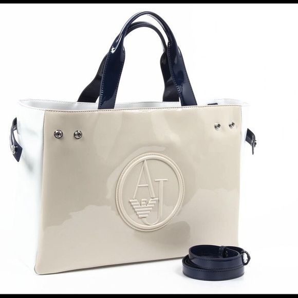 Armani Jeans Ladies Shopping Handbag Color  Beige - Composition  100% PU -  Measures (Width-Height-Depth)  39x27x10 cm Armani Jeans Bags d2fa231b8b91a