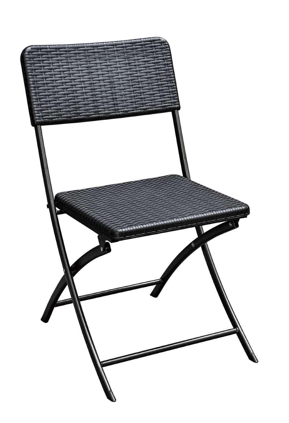 Klappstuhl 2er Set Stuhle Schwarz Rattan Optik Campingstuhl