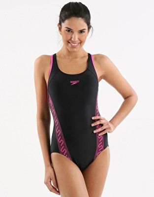 bc3c0908e5418 Speedo Endurance 10 Monogram Racerback - Black and Ecstatic Pink Swimming  Costume, Women Swimsuits,