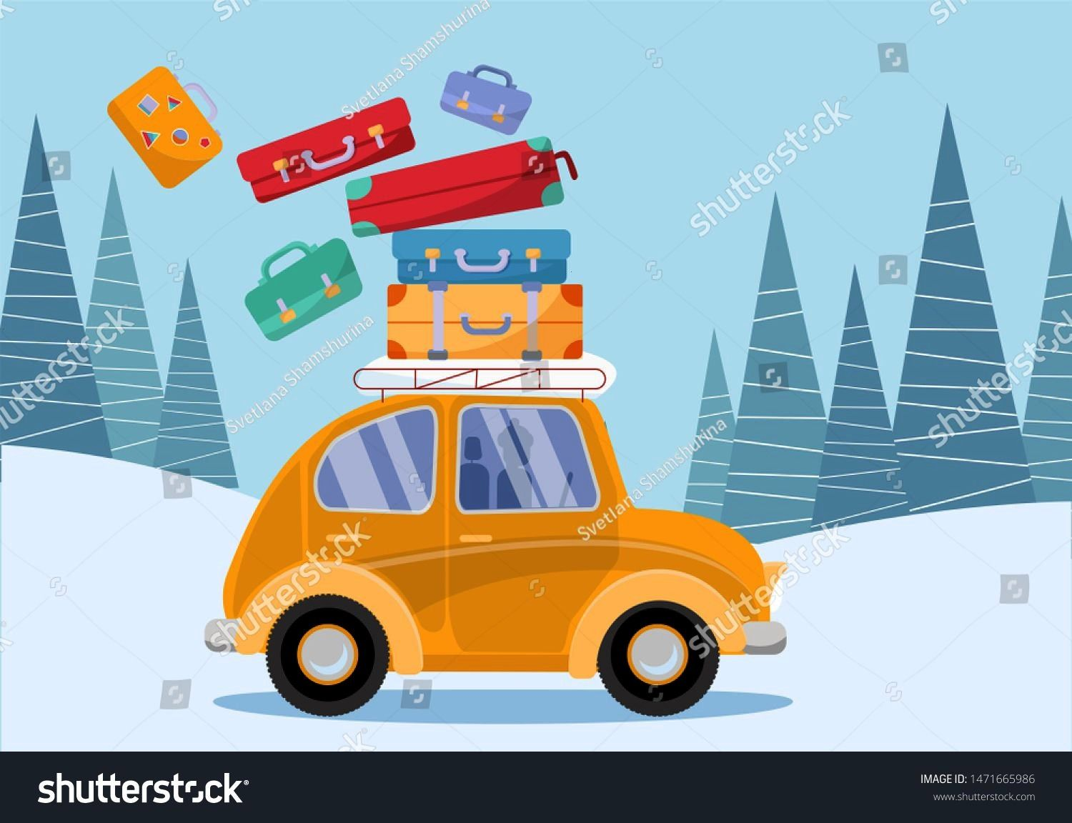 concept. Yellow vintage car with travel suitcases on roof. Winter tourism, travel, trip. Flat carto
