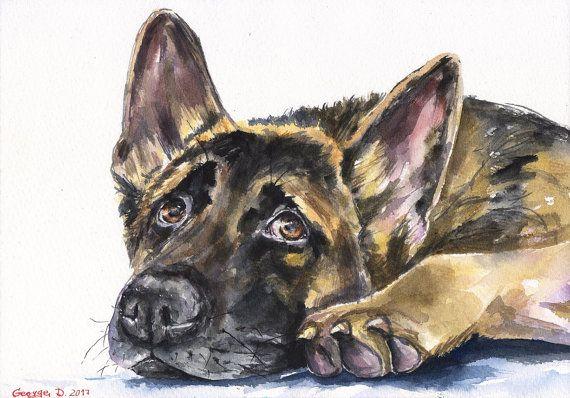 German Shepherd Puppy Dog Face 12X16 Inch Framed Art Print